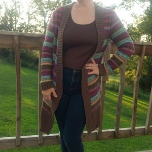 Old Navy Striped Open Cardigan Chunky Knit Sweater